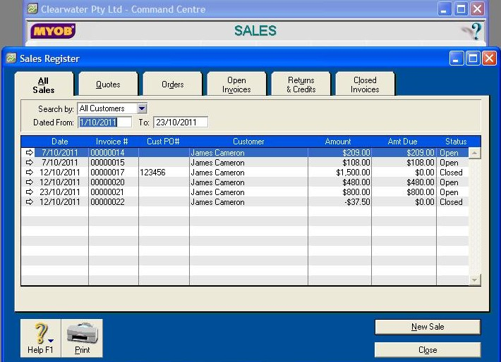 Myob Online Course Videos Myob Finding Sales Register